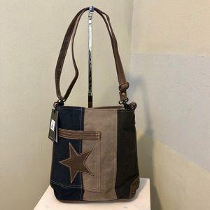 Handbags - Leather star on denim purse Crossbody canvas bag